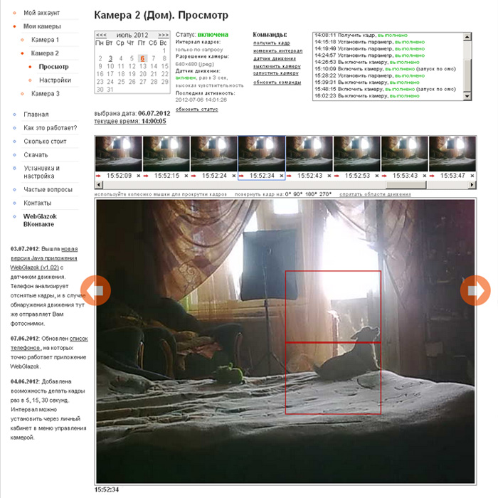 Viewing your camera online. Movement sensor.